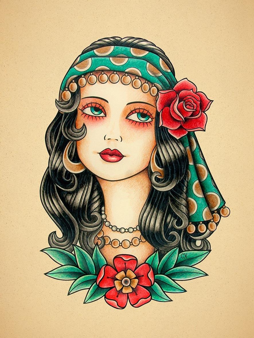 Gypsy woman old school tattoo print for Old school female tattoos