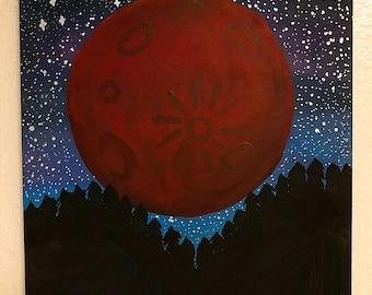 Leo Blood Supermoon Painting