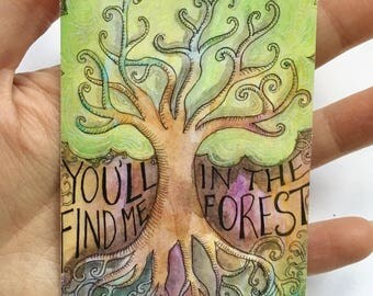 Vinyl Tree Sticker / You'll Find me in the Forest Sticker / Bumper Sticker / Illustration Sticker / Waterproof Sticker / Water Bottle