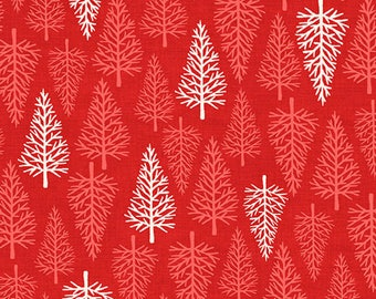 By The HALF YARD - Scandi 2 by The Henley Studio for Makower UK, Pattern #1477-R Trees, White and Red Trees on Christmas Red