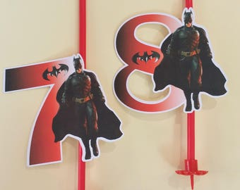 candle with die-cut cardboard number inspired by batman available from 3 to 10