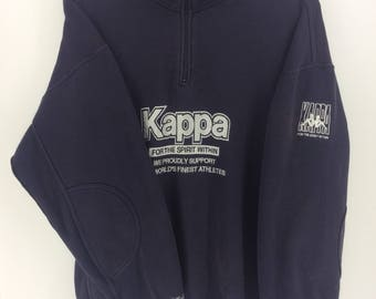 Vintage 90's Kappa Classic Design Skate Sweat Shirt Sweater Varsity Jacket Size L #A859
