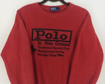 Vintage 90's Polo by Polo Ground Red Classic Design Skate Sweat Shirt Sweater Varsity Jacket Size L #A867