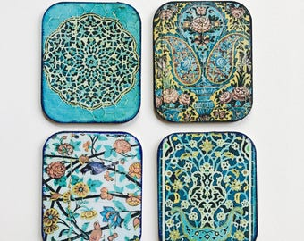 Set of four handmade drink coasters, Drink coasters, colourful coasters
