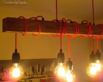 pendant beam light in solid green oak or oak wood 6 lamps black porcelain sockets 80