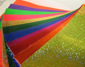 Glittering Sign Vinyl With Adhesive, 3 x 4 inch Sample Pack Swatch Book, Holographic Sequins