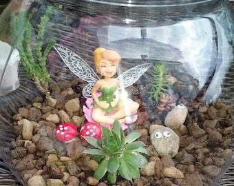 Make your own fairy garden, Tinkerbell in living succulent cactus garden