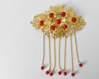 Red + Gold Chinese Wedding Bridal Hair Pin/Hair Piece/Hair Accessory - Style 3