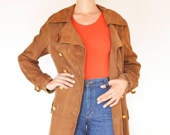 Vintage Brown Suede Coat // Long Suede Coat // 70s Coat