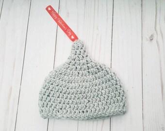 Baby Chocolate Hat, Baby Hersheys Kiss Hat, Valentine's Gift, Baby Galentine Hat, First Valentines Day, Newborn Photo Prop, Baby Shower Gift