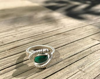 Malachite .925 Sterling Silver Wire Wrap Ring