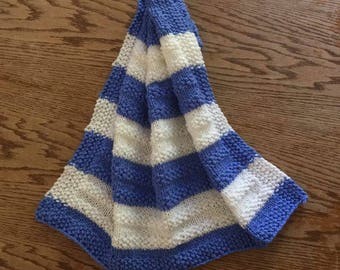 handmade knitted blue and white baby blanket