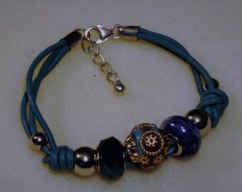 Handmade Blue Knotted Leather and Large Hole Bead Bracelet