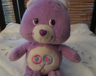 Care Bear Share Bear Care Bear Purple Soft Toy Beanie (1995)