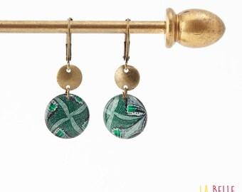 Small earrings ' sleepers earrings in green wax resin