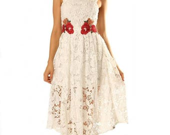 Womens White Guipure Lace Dress With Flower Patches