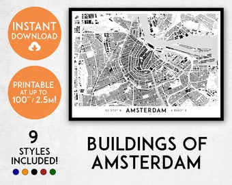 Amsterdam map print, Printable Amsterdam map art, Amsterdam print, Amsterdam art, Amsterdam poster, Amsterdam wall art, The Netherlands map