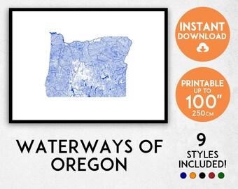 Oregon map print, Printable Oregon map art, Oregon print, Oregon art, Oregon poster, Oregon wall art, Oregon gift, Map of Oregon, USA map