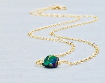 Single Rainbow Quartz Stone Necklace