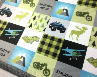 PERSONALIZED minky blanket, blue green blanket, monster truck bike airplane racer blanket, boy lumberjack blanket, baby shower gift