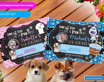 Puppy Invitation, Pet adoption party, Puppy Birthday Party, Puppy Adoption, Pawty. Pets Theme Birthday party. Digital Invitation,Girl or Boy