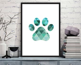 Printable art Digital Prints modern geometric blue green paw print printable art, printable prints