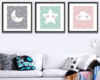 Set of 3 printable wall art set Digital Prints nursery decor
