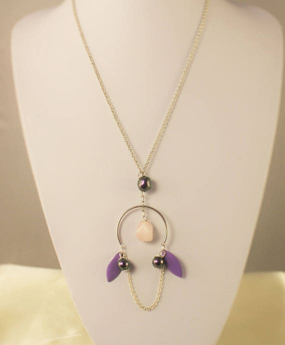 Necklace Silver 925 fine stone and iridescent purple swarovski