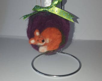 Lovely little needle felted  fox hanging decoration
