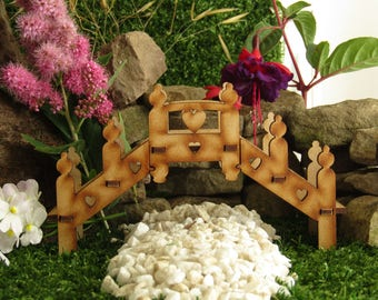 Decorative Wooden Fairy Garden Bridge - Three-dimensional Fairy Bridge Craft Kit for your Fairy Garden! With newel posts and heart cut-outs