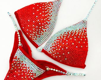 RED Velvet Competition Bikini with Rhinestone Crystals/ Connectors Crystal AB Silver PRECIOSA
