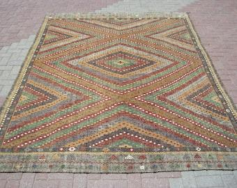 """Bohemian PASTEL Kilim Rug, Kilim Rug, Turkish Rug, Floor Rug, 122,8"""" x 90,5"""", Anatolian Rug, Vintage Rug, Kelim, Kilim, Large Rug, Rug 8x10"""