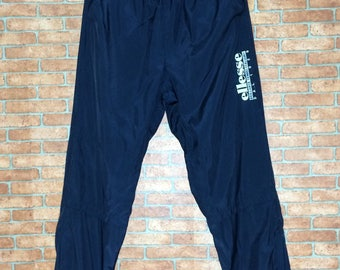 Rare!!! Vintage ELLESSE Nylon pants Spell out Big Logo Vtg PERUGIA ellesse Italy 1959 Embroidery sweatpants