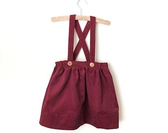 Burgundy Corduroy Suspender Skirt - Girls Suspender Skirt - Fall Skirt - Holiday Skirt