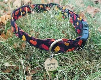 Fall/Thanksgiving Fall Leaves Pattern Dog Collar