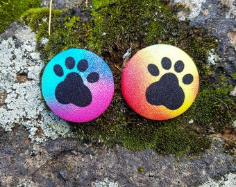 Colorful Tie Dye Dog Paw, Paws of Love Dog Mom Button Earrings