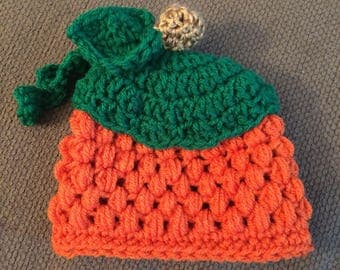 Crochet pumkin newborn beanie