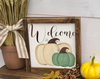 Fall Sign / Fall Decor / Pumpkin Sign / Pumpkin Decor / Fall Welcome Sign / Farmhouse Fall Decor | Rustic Fall Decor