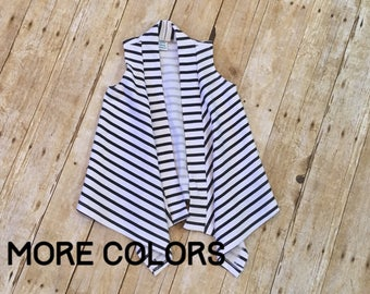 Baby cardigan // striped cardigan // black and white cardigan // vest cardigan // navy and white cardigan // gray and white cardigan