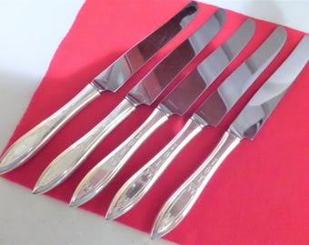 Silver Plate Knives GRANDEUR Pattern by Heirloom Group of 5