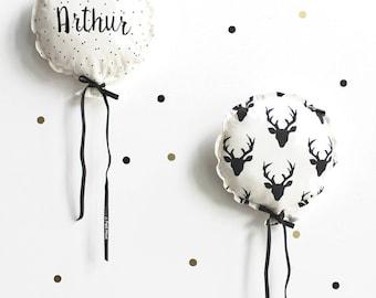 Scandinavian balloons personalized pillows.