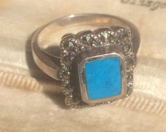 Vintage Silver Ring, Vintage Turquoise Ring, Vintage Jewellery, Marcasite Silver Ring, Turquoise Jewellery, Old Ring, Silver Marcasite Ring