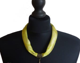 "Small lightweight silk, chartreuse yellow scarf. ""Choker"" necklace, hair accessory."