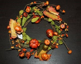 """Candle Ring 6"""" Pumpkins Fall Decor Halloween Pip berries acorns gourds Country"""