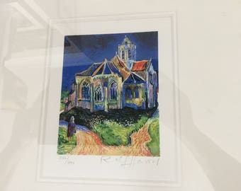 Limited edition of Church at Auvers by Rolf Harris as part of the series of interpretations of famous Van Gogh paintings.
