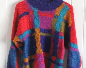 90's, colourful, funky, fun, patterned sweater, jumper