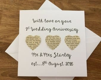 Personalised 1st Wedding Anniversary card - handmade first anniversary card - paper anniversary card