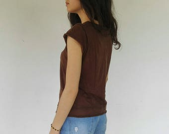 Basic Vintage Brown T-Shirt ONE SIZE S/M