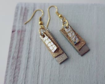 Silver & Gold Leather Earrings (short)