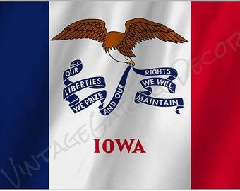 Iowa State Flag on a Metal Sign